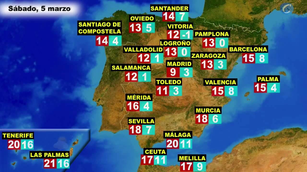 El tiempo en Espaa por CCAA actualizada para el sbado 5 y