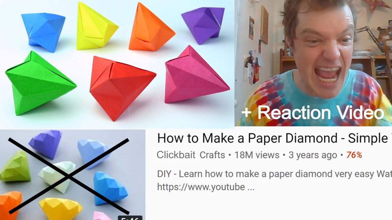 Super Simple Origami Diamond No Tape No Glue!