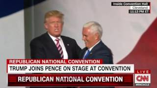 Donald Trump air-kisses Mike Pence after his VP acceptance speech
