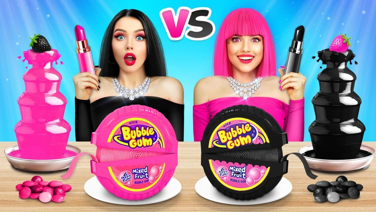 Download Last to Stop Eating One Color Food Challenge   24 Hour Mukbang wich Pink Sweets by RATATA COOL
