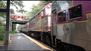 Rare MBTA Trains in Needham, MA Including a Double Draft Set