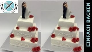 Edle Hochzeitstorte mit roten Rosen I white Wedding Cake