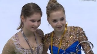 Julia Lipnitskaya;Elena Radionova-Trophie Eric Bompard 2014 Ladies Victory Ceremony
