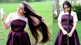 Bella's Passionate Hair Play in Margaret Island - First Rapunzel Model from Hungary!