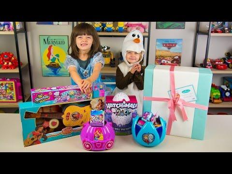 HUGE Frozen Surprise Bucket Disney Princess Surprise Toys for Girls Hatchimals Kinder Playtime