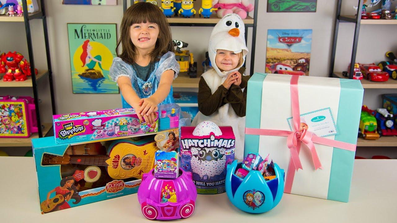 Girls using huge toys