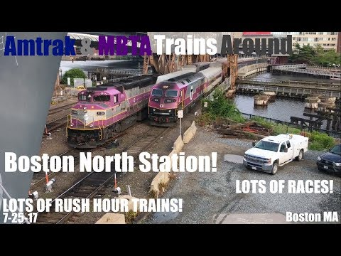LOTS! Of Amtrak & MBTA Trains Around Boston North Station! W/ Tons Of Races!
