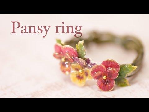 【樹脂風粘土×レジン】パンジーのリング DIY CLAY WITH RESIN COATING [PANSY RING]