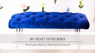 DIY Velvet Tufted Bench | Home Decor Tutorial | Interior Design | Mr Kate