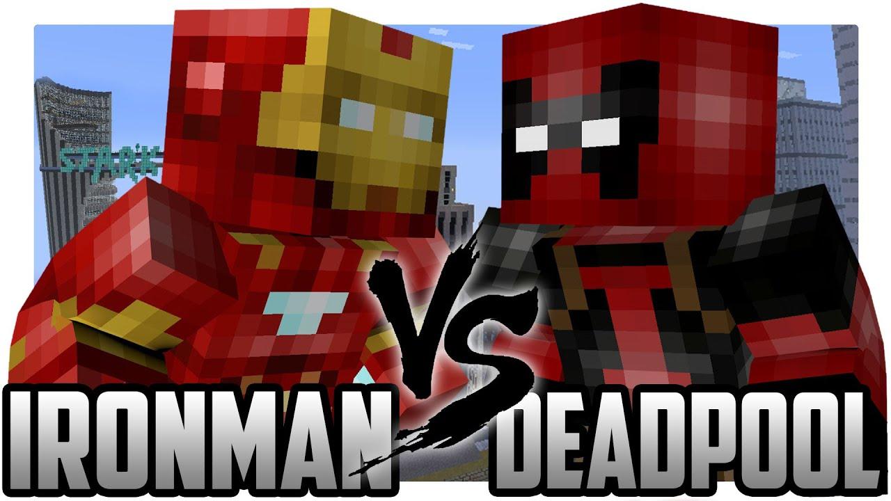 Minecraft iron man vs deadpool a legend is born on youtube