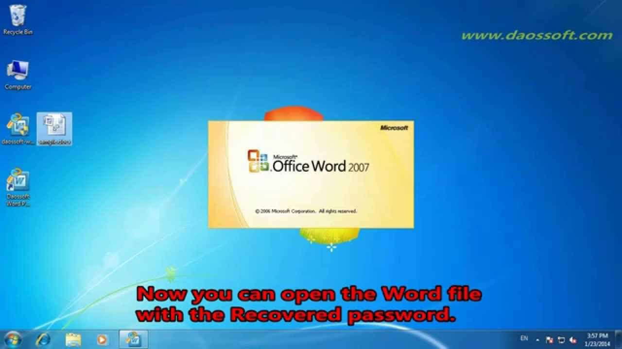 forgot password word 2007