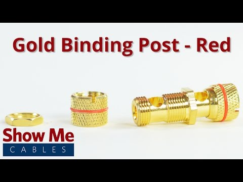 Gold Binding Post / Banana Jack Panel Mount Connector - Metal - Red #491