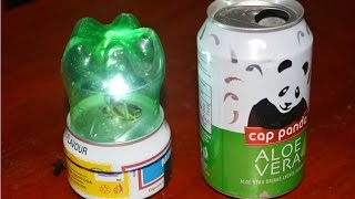 cara membuat lampu tidur - bahan kaleng dan botol minuman bekas