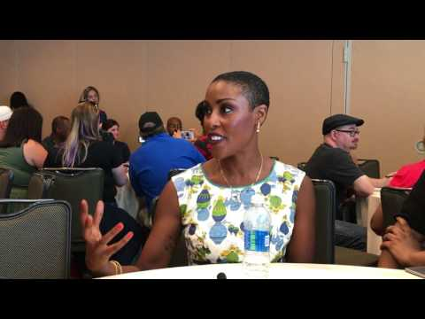 with Christine Adams of Black Lightning  Comic Con 2017