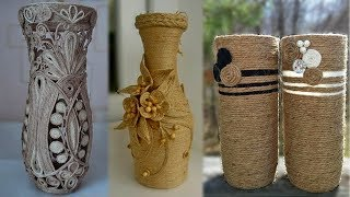 DIY Flower Vase Out Of Waste Bottle and Jute   Best out of waste idea