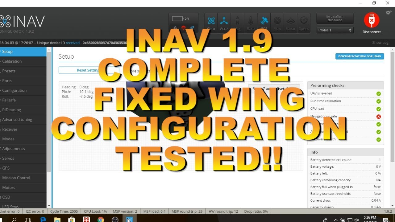 INAV 1 9-FULL CONFIGURATION TUTORIAL-TESTED ON 2 WINGS