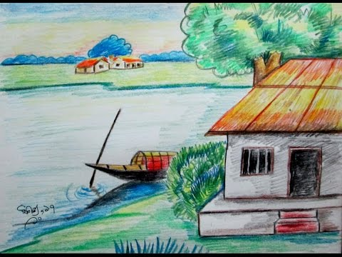Village scenery drawing technique in easy way art for kids