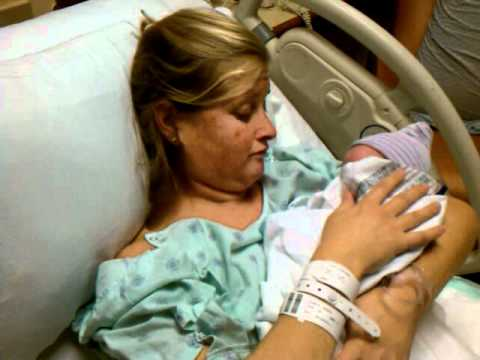 Erin holding Laney for the first time