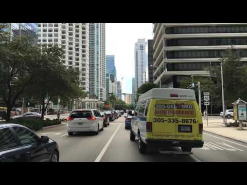 Driving Downtown Miami's Main Road Miami Florida USA