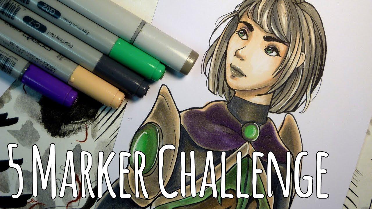 5 Marker Challenge Character Design Random Colour Palette Youtube