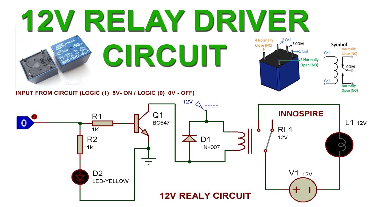 12vrelay relaydriver relaycircuit [ 1280 x 720 Pixel ]