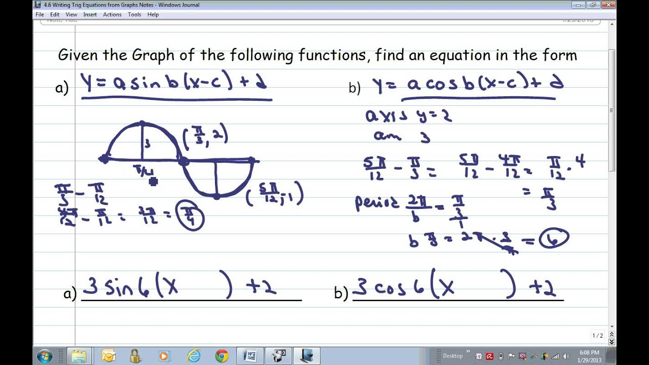 4.6 Writing Trig Equations from Graphs - YouTube