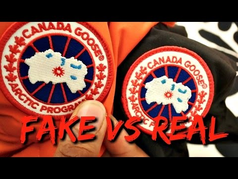canada goose logo real vs fake