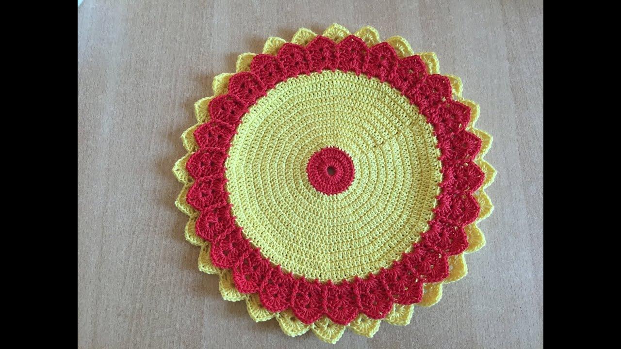 Tuto set de table fleur au crochet youtube - Set de table crochet ...