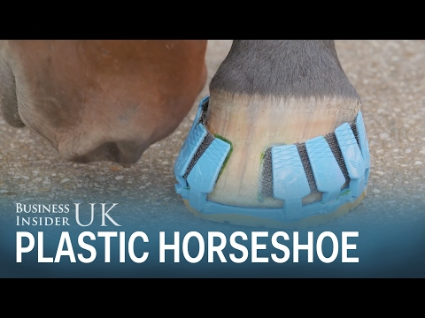 A plastic horseshoe can clip on and off