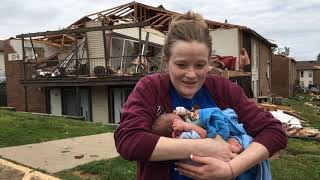 Video: Woman rides out storm with newborn