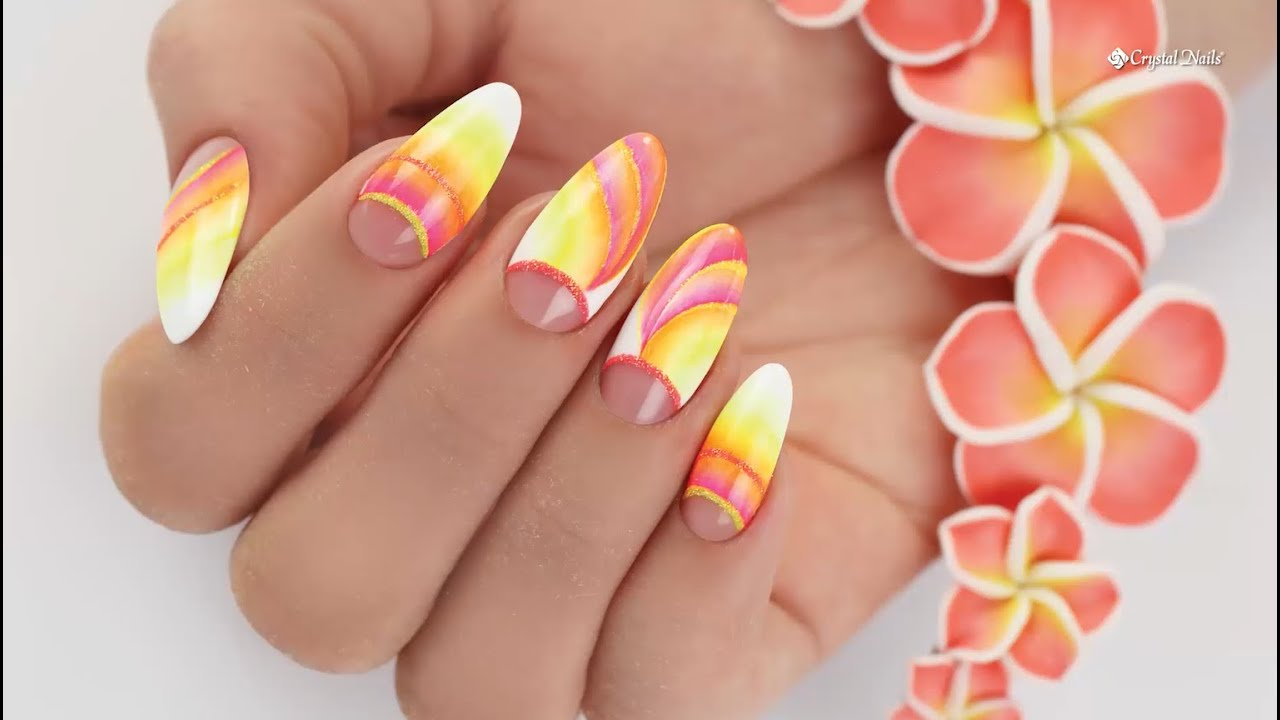 Color Gradient Ombre Nails with Crystal Nails Neon Art Gels - Step ...