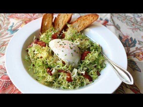 Salad Lyonnaise - Frisee Salad with Shallot Dijon Dressing, Bacon, and Poached Egg