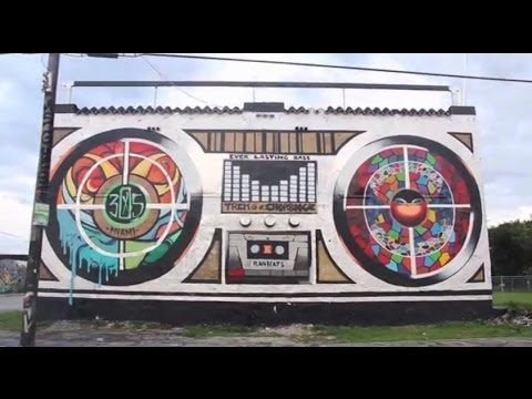 Huge Boombox Mural by Trek6 & Chor Boogie in Wynwood, Miami