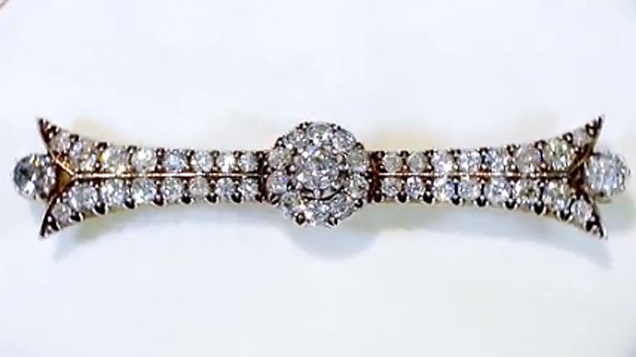 Antique 6.09 Ct Diamond And Yellow Gold Bar Brooch Fine Pins & Brooches Jewelry & Watches