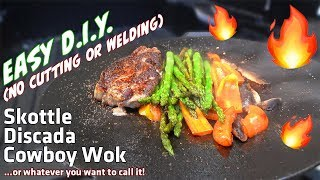 Easy DIY Skottle, Discada, Cowboy Wok Cast Iron Camp Cooking - No welding or cutting