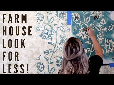 Farmhouse Wallpaper Made With Wall Stencils