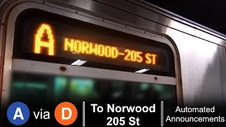 ᴴᴰ R160 A Train via D line - To Norwood 205 St via All Local Stops - From Far Rockaway