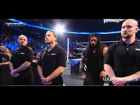 Roman Reings vs Seth Rollins and Kane,Randy Orton attack Seth Rollins, Smackdown 03-19-2015 thumbnail