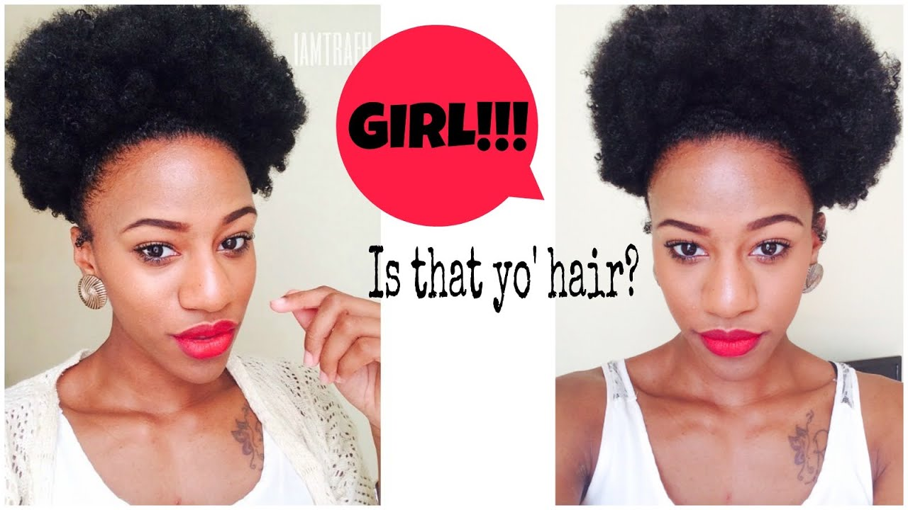 Crochet Hair Puff : ... To Fake an AFRO Puff Crochet Braids w Afro Kinky Bulk Hair - YouTube