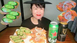 오픈 샌드위치와 시원한 맥주 먹방, Open sandw…