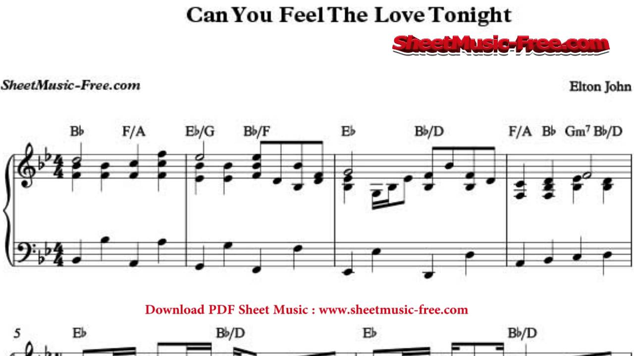 Can you feel the love tonight, for piano by e. John on musicaneo.