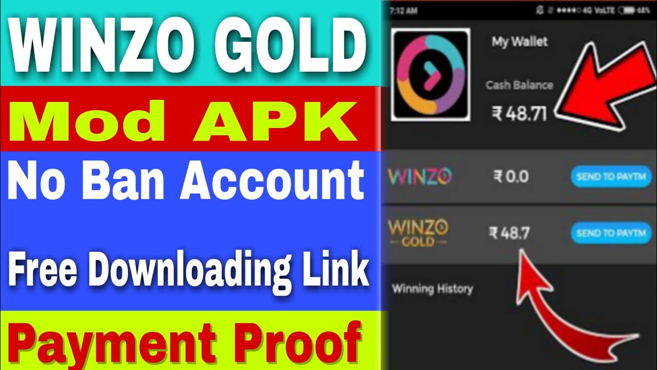 WINZO GOLD MOD APK || No Ban Account || Free Downloading Link || Payment Proof || H@CK Trick
