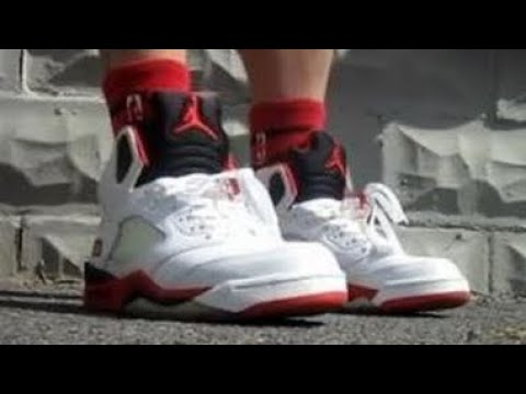 big sale f0158 8e294 2006 Air Jordan Fire Red 5 Black Tongue V Sneaker Review + On Feet W ...