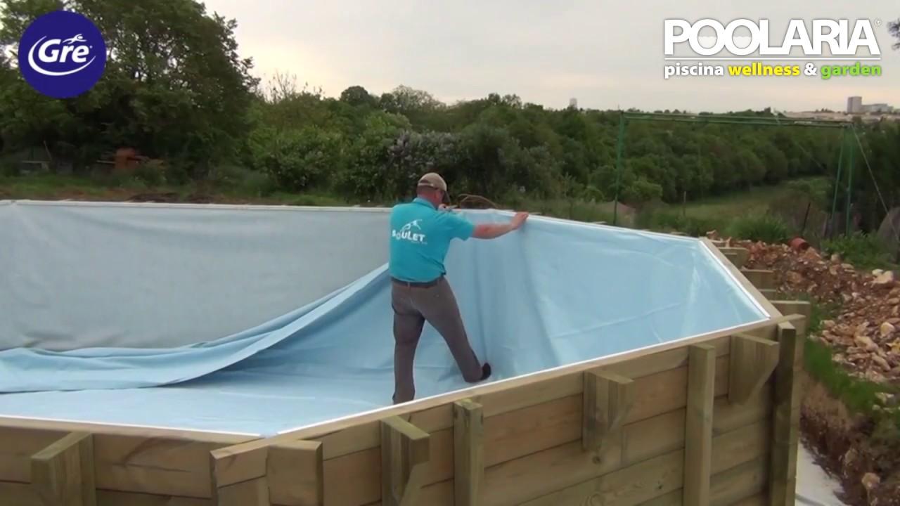 Instalaci n de una piscina de madera gre youtube for Piscinas plasticas grandes