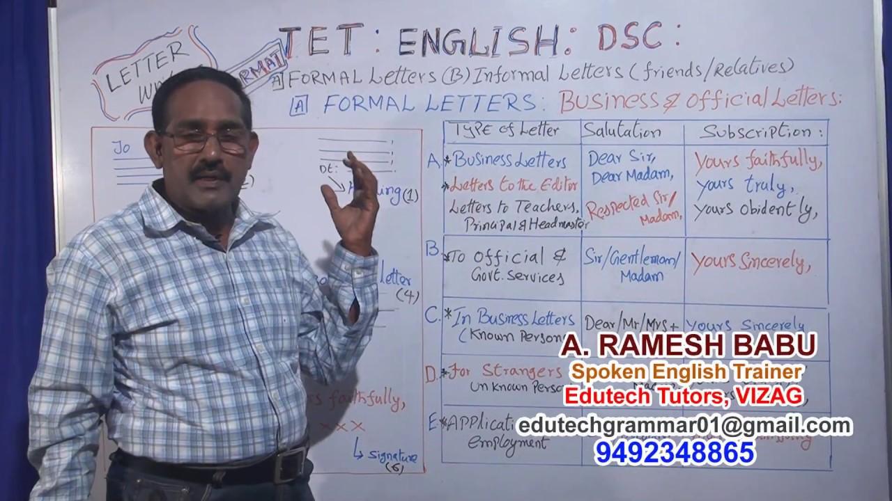 TETDSC ENGLISH LETTER WRITING FORMAT FORMAL LETTER