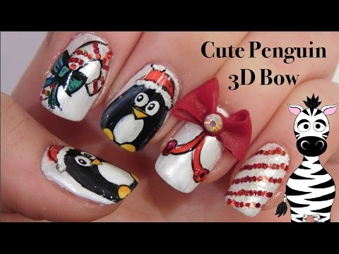 cute penguin nail art design tutorial