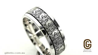 Dora 9ct white gold and black rhodium engraved ring Dora code W5333