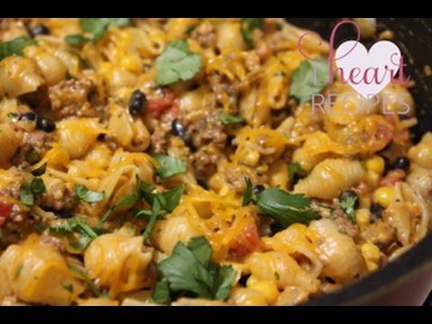 Cheesy Southwest Pasta Skillet - I Heart Recipes - YouTube