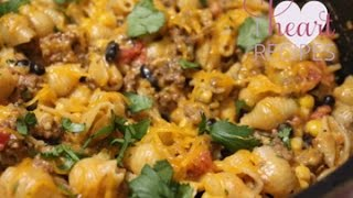 Cheesy Southwest Pasta Skillet - I Heart Recipes