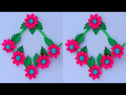 DIY Wall Hanging Paper Flower Craft - Easy Wall Decoration Ideas - Simple Paper craft